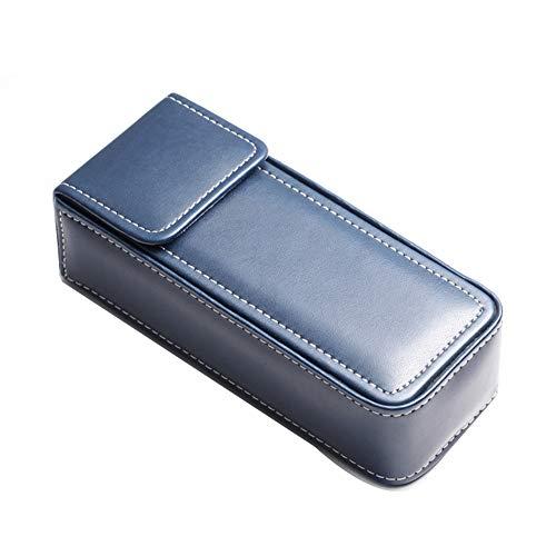 watch box Handgefertigte Uhrenbox aus Kunstleder, tragbare quadratische Brillenetui, Federmäppchen, Aufbewahrungsbox blau