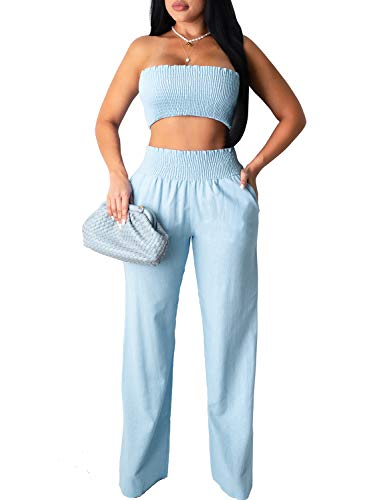 Women's Summer 2 Piece Outfits Sexy Tube Crop Tops Wide Leg Long Pants Sets with Pockets