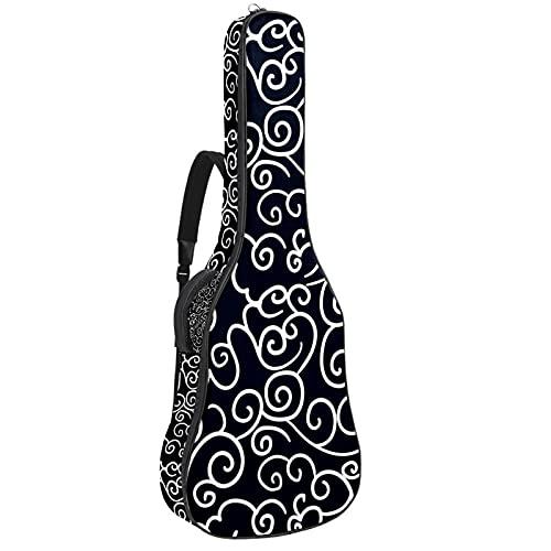Bolsa para guitarra con nubes chinas, color azul marino, acolchada, funda de...