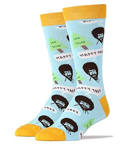 Oooh Yeah Men's Luxury Combed Cotton Crew Socks-Nice Men-Happy Tree Blue,size 10/13