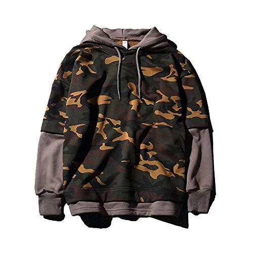 KINDOYO Manteau de Camouflage pour Hommes - Couple Veste à Casual Manches Longues à Capuchon Couture Sweatshirt de Design de Mode, Style 1, EU XL=Tag 2XL