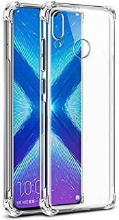 Tarkan [Bumper Corners with Air Cushion Technology] -Shock Proof Protective with Soft and Transparent Back Case Cover for Honor 8X (Crystal Clear)