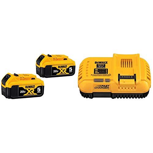 DEWALT 20V MAX XR 20V Battery, 5.0-Ah, 2-Pack (DCB205-2) & FLEXVOLT 20V MAX Charger, Rapid Charge (DCB118)