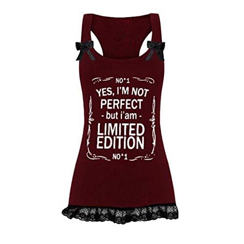 Luckycat Mujeres Camiseta de Tirantes, Gótica Sin Mangas diseño de Calaveras Tanque Superior corsé Disfraz de Tank Tops Chaleco Borla Lentejuelas Encaje T-Shirt