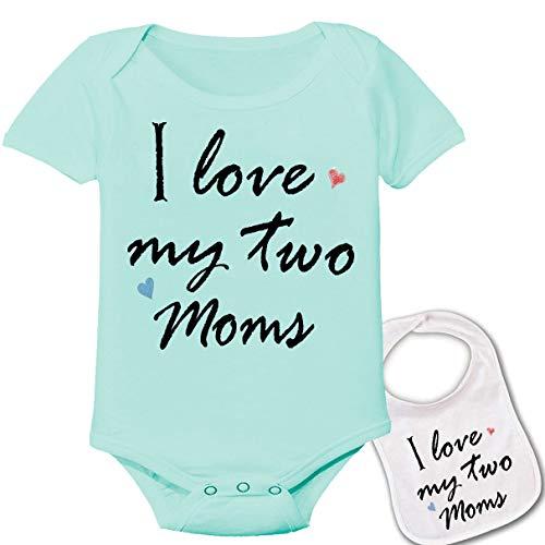 I Love My Two Moms Custom Boutique Baby Bodysuit Onesie & Matching bib Set Green