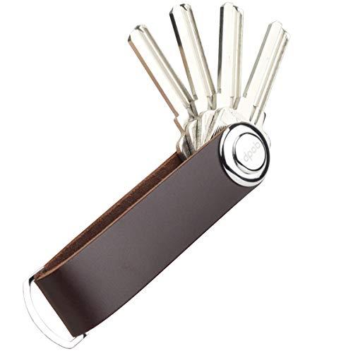 dpob Llavero, organizador de llavero compacto de cuero Llavero de diseño inteligente y práctico - Hecho de cuero de primera calidad duradero (Coffee)