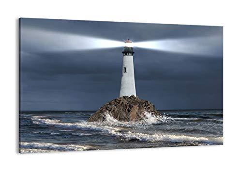 Cuadro sobre lienzo - Impresión de Imagen - faro mar - 120x80cm - Imagen Impresión - Cuadros Decoracion - Impresión en lienzo - Cuadros Modernos - Lienzo Decorativo - AA120x80-3550