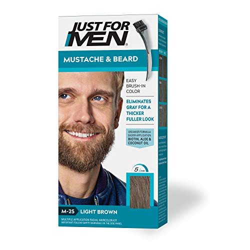 Just for Men Brush-in Mustache, Beard & Sideburns, Light Brown - Kit, 1count