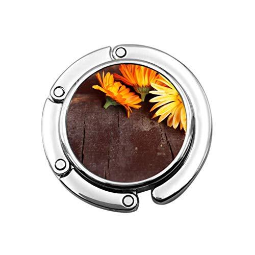 Beautifui Bright Ringelblume Blumen Handtaschenhalter für Tischtasche Schreibtisch Kleiderbügel Einzigartige Designs Faltbereich Aufbewahrung Tisch Geldbörse Haken Kleiderbügel