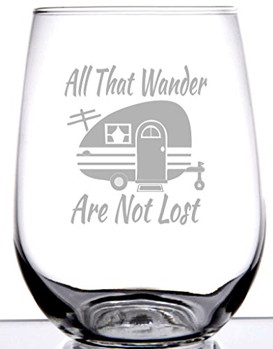IE Laserware Cute vintage camper on 17 ounceStemless Wine Glass