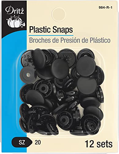 Dritz Plastic Snaps, Round, Black, Size 20 12-Count
