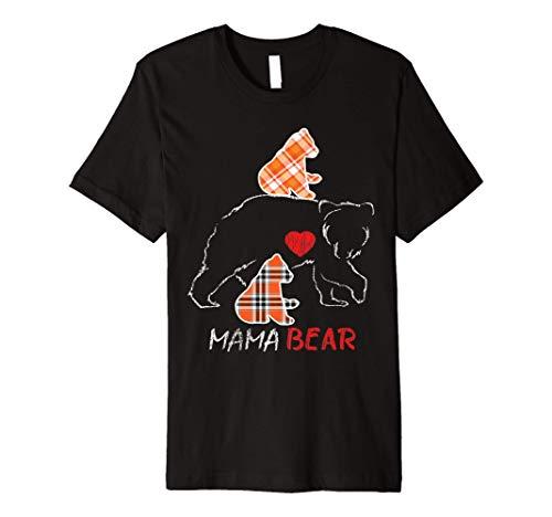 Red Plaid Flannel Bear Mama Proud Mom Family Matching Pajama Premium T-Shirt