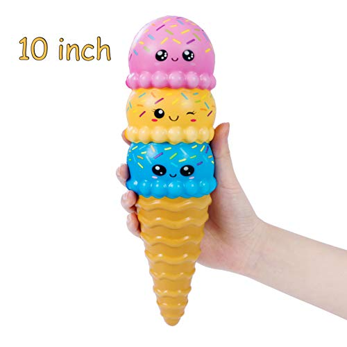 AILIMY Animal Ice Cream Squishy Jumbo Cute Cream Scented Soft Squishies Slow Rising Food Squeeze Toys (6 Random Colors)