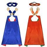 Tapas y máscaras para niños de 70 cm, 2 juegos de disfraces para disfraces, disfraces, fiestas de cumpleaños, Navidad, Halloween, suministros de fiesta(Blue+Orange)