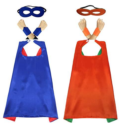 COSORO 70cm Capes und Masken für Kinder Kostüme Masquerade,Geburtstag, Weihnachten,Halloween Party Supplies(2 Sets Mit Armband)
