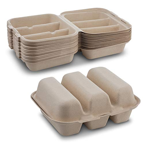 "Pulp Fiber Tri Compartmental Taco Holder Disposable Size 8"" x 7"" x 3' Keeps Taco Upright By MT Products (15 Pieces)"