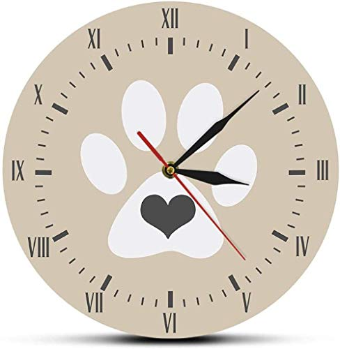 ZYZYY Reloj de pared con forma de corazón de gato blanco y