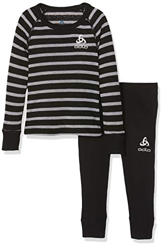 Odlo Kinder Set Active Originals WARM Kids Unterwäscheset, Black - Grey Melange - Stripes, 152