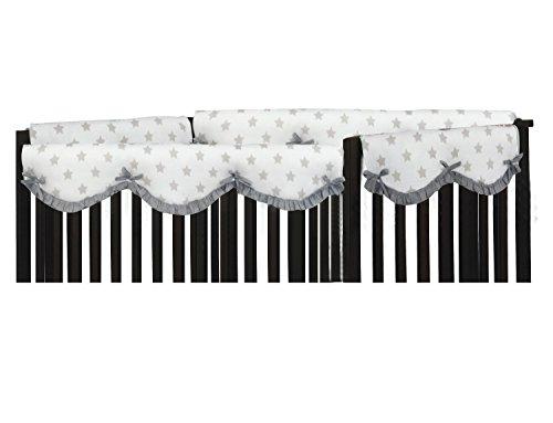 Muslin Crib Rail Guard/Cover (Small (Set of 2 pcs), Grey Stars)