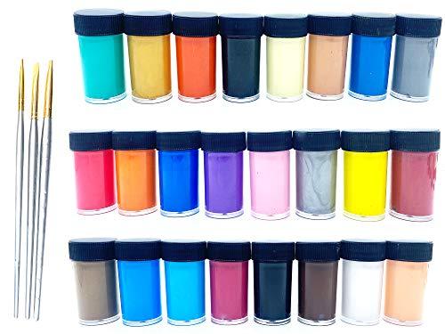 Erlliyeu 24 Farben Acrylfarben Set, je Acrylfarbe Flaschen 25 ml, mit 3 zusätzlichen Pinseln, ideal für Leinwand, Papier, Holz, Stein, Keramik, Modell