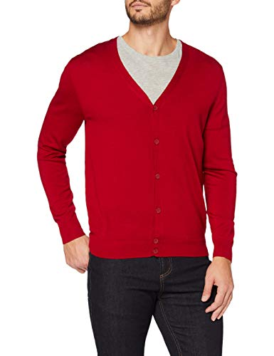 Amazon-Marke: MERAKI Merino Strickjacke Herren mit V-Ausschnitt, Rot (Red), XL, Label: XL