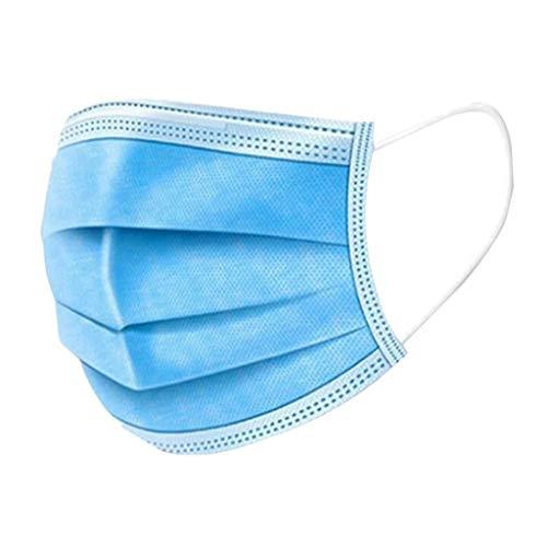 TOPEREUR 50 Stück Mundschutz Mund Nasen Abdeckung,Einweg 3-lagig Staubdicht Atmungsaktiv Mund und Nasenschutz Halstuch (blau)