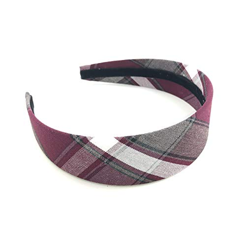School Uniform Wide Headband for Girl Plaid 54