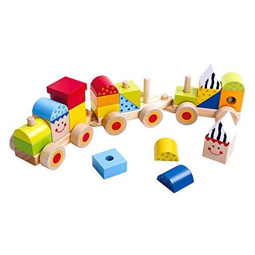 Tooky Toy - Train en bois - 26 pièces - Blocs en bois colorés - Locomotive enfant - Jouet en bois - Jouet enfant - 38 x 7,5 x9,5 cm