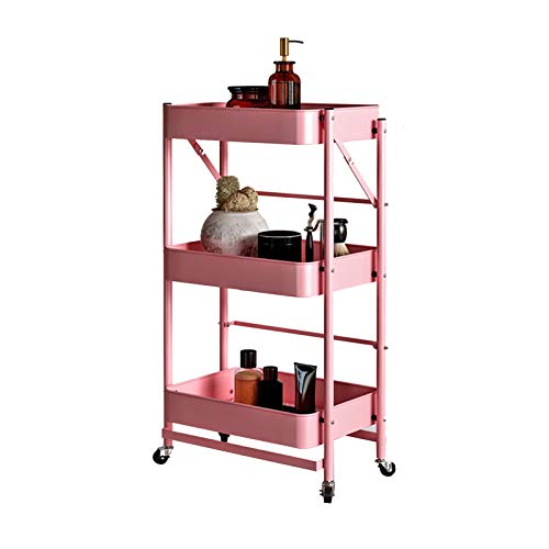 3-Tier Utility Rolling Cart Metall...