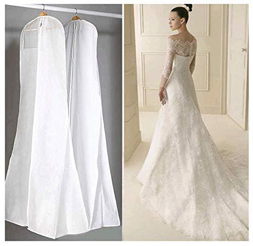 Prom-near Atmungsaktiver Kleidersack Schutzhülle für Brautkleider Abendkleider Anzüge Mäntel Anti-Staub Hochzeitskleid Kleidersack Weiß 160/170 / 180 cm