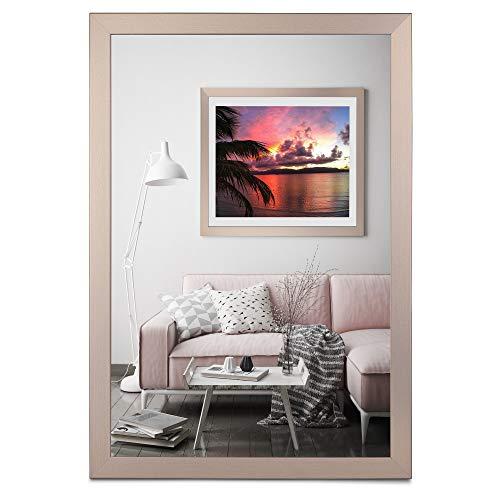 rahmengalerie24 Bilderrahmen 50x70 cm Rahmen Bronze Holz Acrylglas ohne Passepartout Portraitrahmen Fotorahmen Wechselrahmen für Foto oder Bilder MDF Dekorahmen ohne Bild Alice