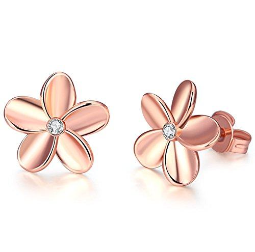 Yeahjoy, orecchini scintillanti a perno da donna con graziosi piccoli strass in oro rosa 18K/placcato platino a forma di fiore, 18ct rosa oro, cod. 2020281150