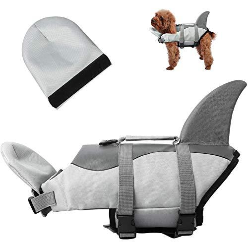 HWZZ Chaleco salvavidas para perros con diseño de tiburón, chaleco salvavidas, chaleco de natación para cachorro, abrigo ajustable para perros con asas para fácil rescate, gris, L