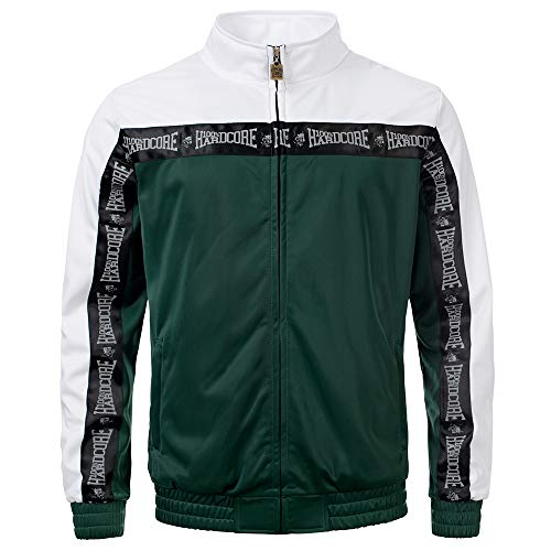 100% Hardcore Trainingsjacke Authentic, Green/White Techno Gabber Sportjacket reflective Logo-Stripes (S)