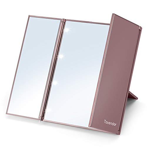 7.5 Inch Trifold Mirror with Lights, Tovendor Portable Makeup Mirror for Camping and Hiking