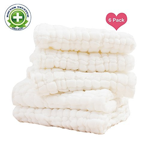 Baby Muslin Washcloths - Reusable Cotton Baby Wipes,Soft and Absorbent,Newborn Cotton Gauze Towels for Baby Skin, Muslin Warm Baby Towels for Shower Gift, 6-Pack 13x13