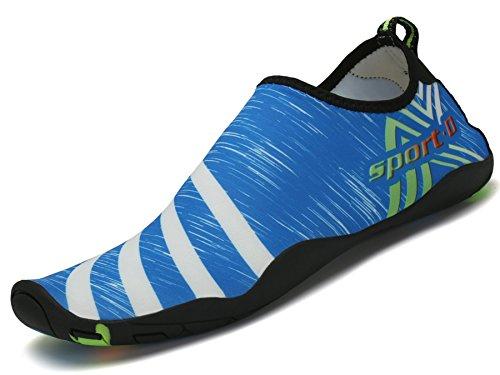 Saguaro Zapatos de Agua Zapatillas de Playa Verano Barefoot Escarpines Antideslizante Calzado de Surf para Hombre Mujer,Raya Azul 45