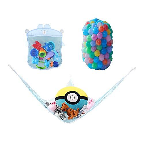 3PCS Toy Hammock Organizer amp Bath Toy Storage Net amp Mesh Toy Storage Bag Good for Toy Storage Organizer Multipurpose and Fun,Blue