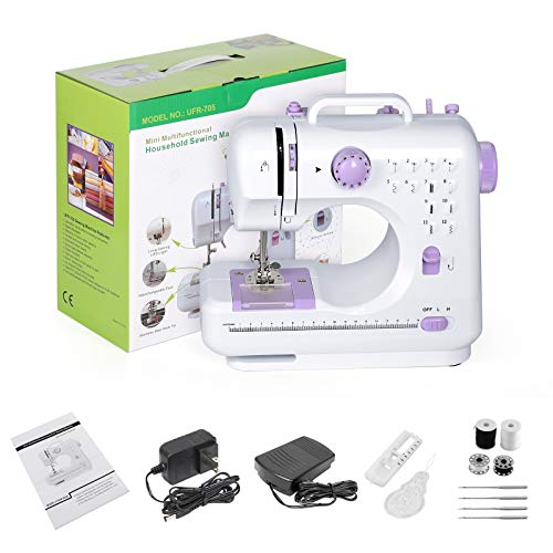 BTY Mini Sewing Machine Portable Household Electric Small Crafting Mending Sewing Machines with Foot Pedal 12 Built-in Stitches 2 Speeds for Beginners Gilrls Home Use, Purple