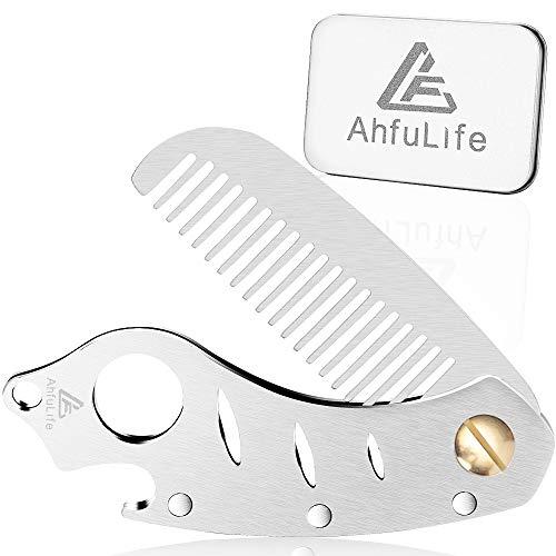 Rostfritt stål metall hår och skäggkam, AhfuLife multifunktionell vikbar EDC fickkam med flasköppnare passar i nyckelring - antistatiskt hår och skäggvård kam mustasch kam - presenteras i presentask