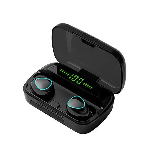 Ruimao Fones de ouvido sem fio, fones de ouvido Bluetooth de toque na orelha Fones de ouvido estéreo esportivos Fones de ouvido com redução de ruído embutidos LED digital mostra carga de carregamento (Edição Padrão)
