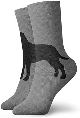 Nifdhkw Men\'s Women Crew Dress Socks, Athletic Running Socks, Novely Compression Socks For Running,Travel,Cycling,Pregnant,Nurse, Flight- American Staffordshire Terrier Silhouette(s)