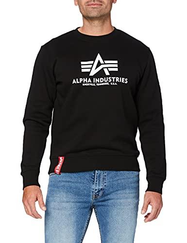 ALPHA INDUSTRIES Herren Basic Sweater Pullover, Schwarz (Black 03), Large
