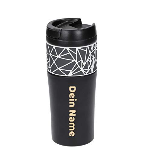 Uakeii Personalisierter Premium Edelstahl 0,5l Thermobecher 100% Auslaufsicher Isolierbecher Kaffeebecher to Go mit Namen ZUM SELBST GESTALTEN Autobecher Travel Mug mit Wunschgravur (500ml - Muster)