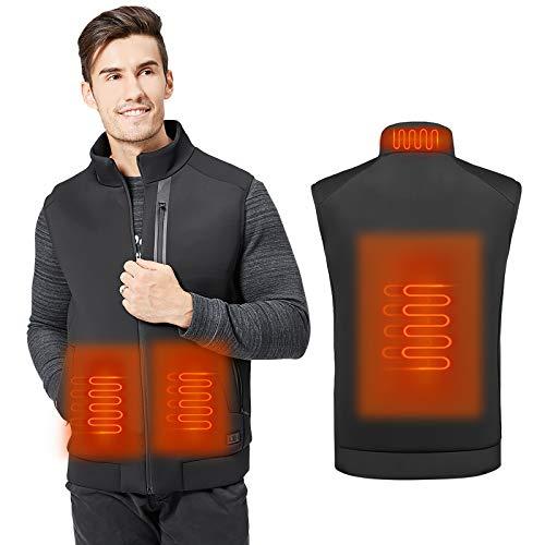 MVPower Chaleco Térmico Electrico para Hombre y Mujer, Chaleco Calefactable de Carga Usb para Cuello, Espalda y Estómago, 3 Niveles de Temperatura, para Actividades al Aire Libre en Invierno