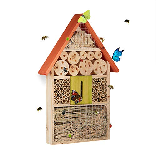 Relaxdays Insect Hotel for Bees, Butterflies, Ladybirds, for Hanging, Balcony, HxWxD: 48.5 x 31 x 7 cm, Orange