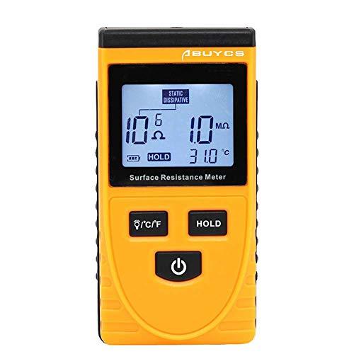 Medidor de resistencia superficial, Abuycs LCD portátil Resistencia a la Tierra Probador de Instrumento de Medición Detector Estático de Alta Precisión Analizador Electrostático Digital