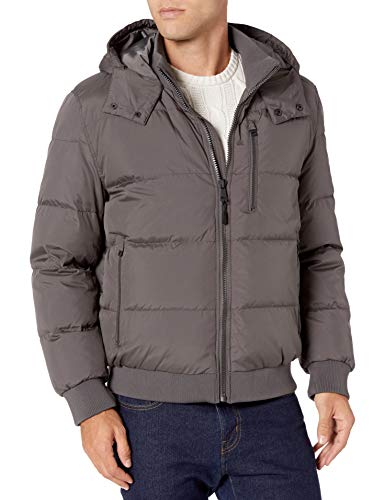 Cole Haan Signature Men's Hooded Bomber Down Jacket, Grey, X-Large