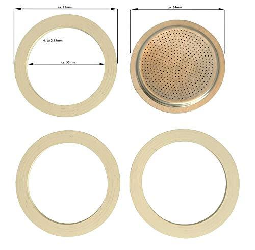 Ersatzdichtung für Espressokocher - 6 TASSEN Aluminium - 3 x Dichtungsring 1 x Ersatzsieb