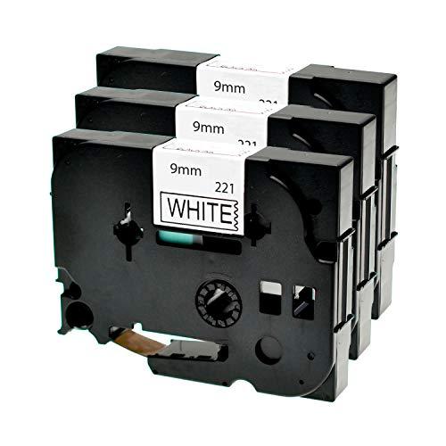 Logic-Seek 3 Schriftbänder kompatibel für Brother TZE221 9mm P-Touch 1000W 1830 2730 D200 7100 2100 2030 1830 7600 VP 2430 1230 9700 PC 1090 2470 1290 1010 1080 1830 E100 P700 H105 Schwarz auf Weiss
